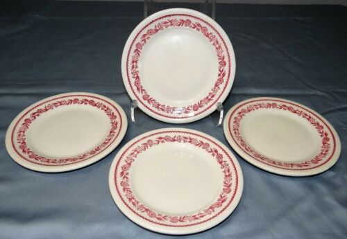 "Set of 4 Buffalo China KENMORE Red Restaurant Diner Ware 6 3/4"" Salad Plates"