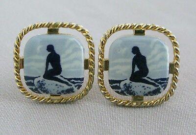 Vintage ROYAL COPENHAGEN Blue/White Men's Gold Tone Mermaid Design CUFFLINKS