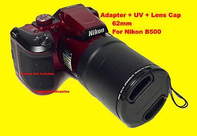 2 PART ADAPTER TUBE+UV FILTER+LENS CAP 62mm to CAMERA NIKON COOPLIX B500 B -