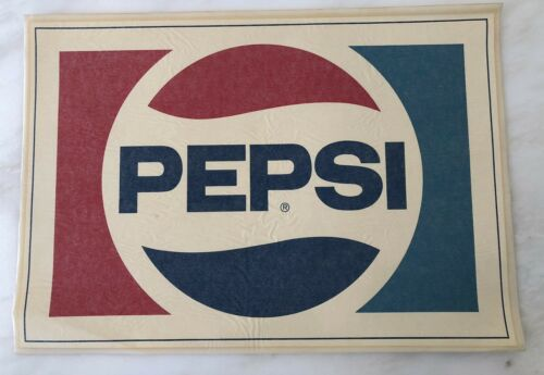 1980 Large PEPSI Soda Window DECAL Original ADVERTISING 17-inch