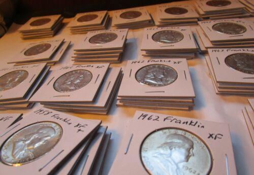 Franklin Half Dollars in Flips Estimate VF or + Silver Junk Face Halves Set Lot