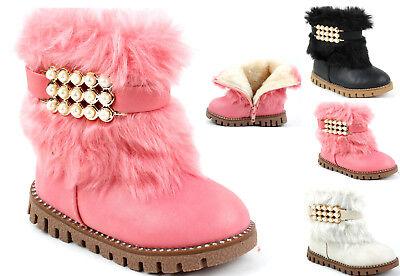 Kinderschuhe Stiefel Stiefeletten für Baby Mädchen Boots Warm Winterschuhe 8977A ()