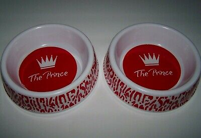 Pair of Small Male Dog Pet Food Water Bowl Dishes-
