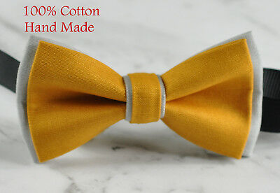 Men Women BUTTERSCOTCH YELLOW and Grey 100% Cotton Bowtie Bow Tie Wedding PARTY - Gray And Yellow Wedding