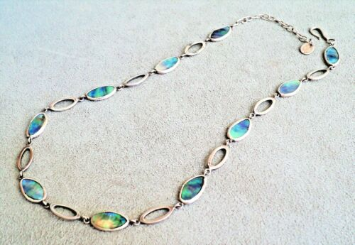 """STERLING Silver & PAUA SHELL Oval Link NECKLACE Signed WILD JEWELS NZ 16-18"""" Vtg"""