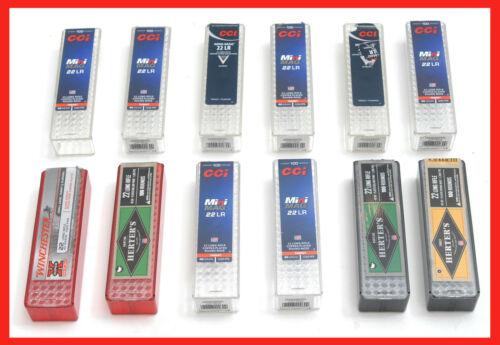 12 Winchester Herters CCI empty 22LR 100 round Plastic Ammo Cartridge Boxes .22