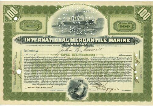 1929 International Mercantile Marine Company Stock Bond 100 Shares New Jersey