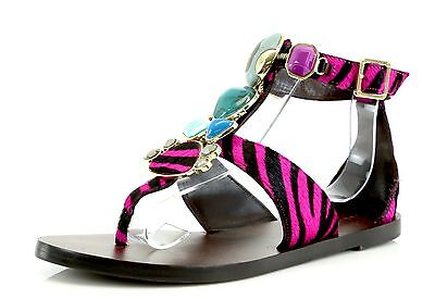 Miss.Trish STONED Pink Zebra Print Ankle Strap Sandals 7373 Size 7 M NEW!  Pink Miss Zebra
