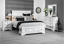 White Queen Bedroom Suite w/-bedside and chest of draws/dressing table Mackay Mackay City Preview
