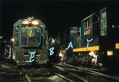 Baltimore & Ohio B&O SD35 GP-9 Night Scene 1969 Original Kodachrome