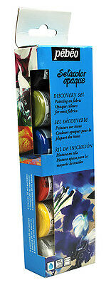 Pebeo SETACOLOR OPAQUE Discovery Set Permanent Fabric Paint 6 x 20ml - Pebeo Setacolor Fabric