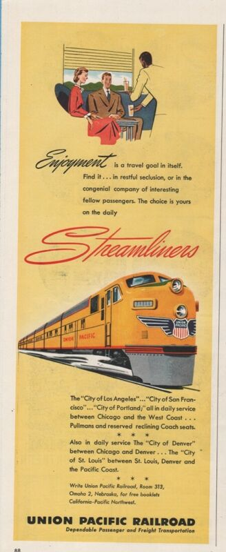 1950 Union Pacific Railroad Streamliners Passenger Train Car Art Ad