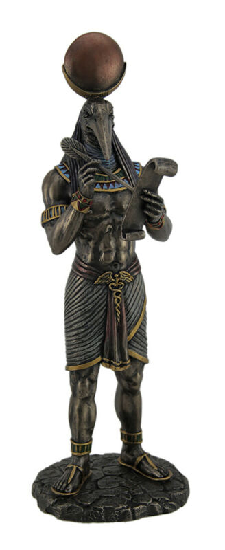 Thoth Egyptian God of Writing and Wisdom with Papyrus Statue