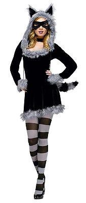 Women's Sexy Fantasy Deluxe Racy Raccoon Adult Costume M/L 8-14 - Women's Raccoon Costume