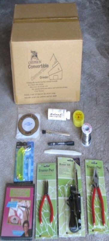 NEW STAINED GLASS SUPPLIES TOOL KIT + GRYPHON PROFESSIONAL STAINED GLASS GRINDER