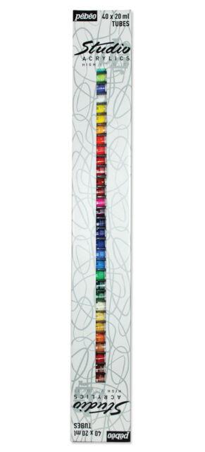 Pebeo Studio Acrylic Paint Set of 40 x 20ml Tubes LARGE Selection of Colours
