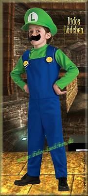 Super Mario Kinder Original Lizenz  Kostüm Luigi 3-tlg verschiedene  S.M.L