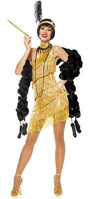 1920S ROARING 20'S ADULT WOMENS GOLD DAZZLING FLAPPER GATSBY COSTUME - Womens Roaring 20's Kostüm