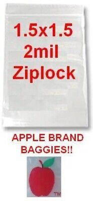 1000 APPLE BRAND BAGS 1.5x1.5 2mil CLEAR ZIPLOCK 1,000 baggies 1.5