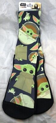 Disney Parks Star Wars Mandalorian Baby Yoda and Frog Long Socks ADULT Size L/XL