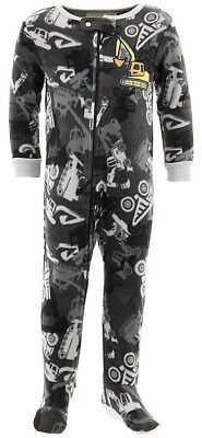 Black Construction Truck Fleece Footed Pajamas for Toddler Boys Blanket - Blanket Sleepers For Toddlers