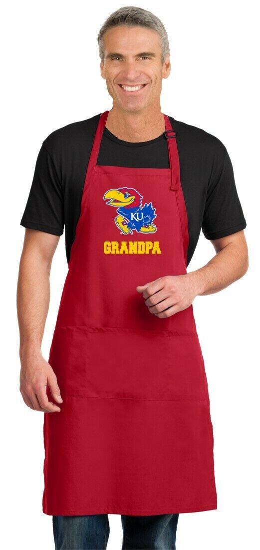 University of Kansas Grandpa Aprons KU Grandpa w//Pockets Grilling Gift Him Men