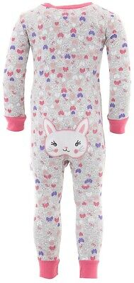 Duck Duck Goose Gray Bunny Cotton One-Piece Pajamas for Baby Girls Cotton Baby One Piece