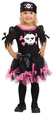 Girls Pink Punk Pirate Costume Frilly Fancy Dress Halloween Toddler Kids Child