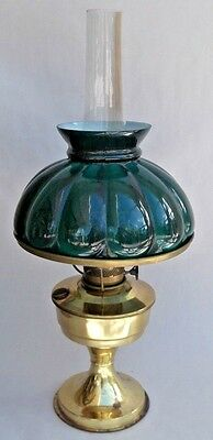 Antique Aladdin Model No.23 Oil Lamp Brass with Glass Shade & Chimney Original