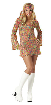 Women 70's Retro Groovy Disco Dolly Adult Costume - Dolly Costumes