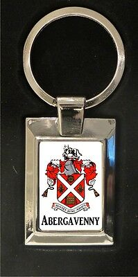 Abergavenny Crest - high polished metal keyring