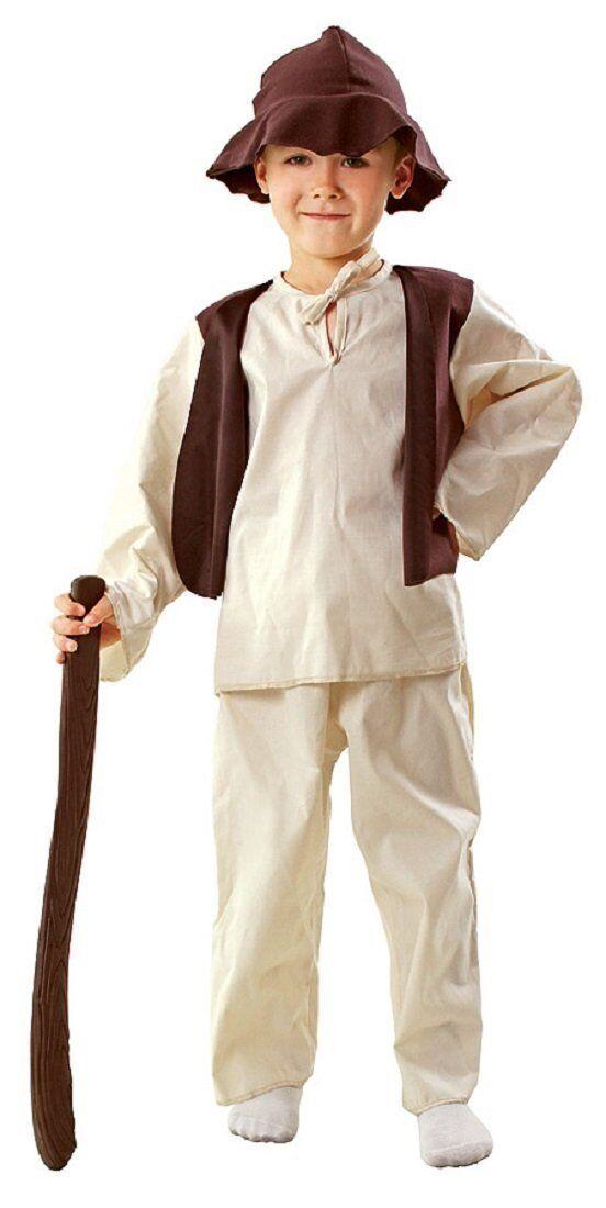 Hirten Kostüm Krippenspiel Kinder aus Baumwolle braun-beige - Schäfer Kostüm