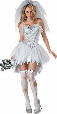 Ladies Sexy Dead Corpse Zombie Bride Halloween Fancy Dress Costume Outfit 8-18