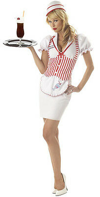 New 50's Soda Shop Sweetie Waitress Car Hop Womens Halloween Costume - Car Hop Costume