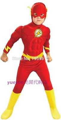 The flash Muscle Kids DC comic Superhero fantasia costume child boy cosplay Suit - Flash Boys Costume