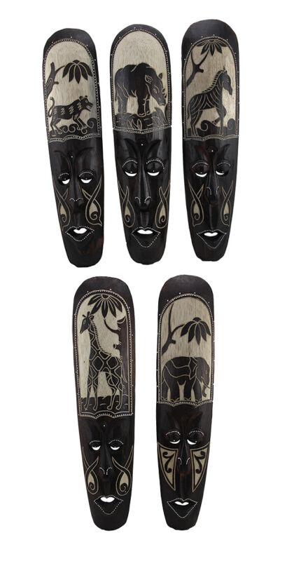 Zeckos Set of 5 African Animal Hand Carved Wooden Wall Masks
