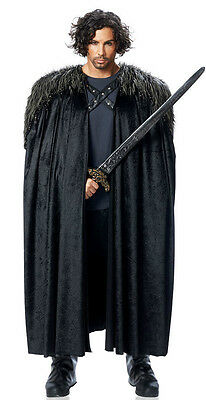 MENS MEDIEVAL KING RENAISSANCE GAME OF THRONES LORD ARAGORN COSTUME CAPE W/ FUR (King Cape)