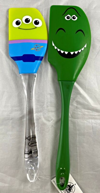 Disney Park Toy Story Rex Green Alien Silicone Spatula Set of 2 Kitchen Cookware