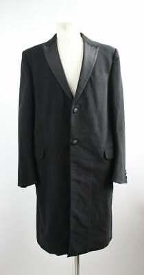 Alexander McQueen 2007 Black Tuxedo Style Satin Lapel Cotton Coat 54IT/ 44US
