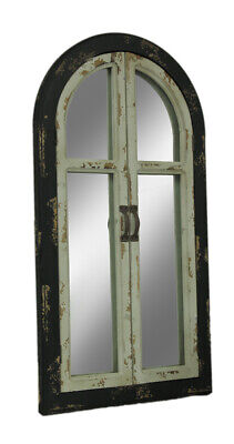 Zeckos Vintage Finish Wood Arched Window Frame Wall Mirror w