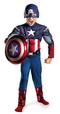 Captain America w/Muscle Costume for Boys size 10-12 New by Disguise 43652 (Captain America Costumes For Boys)