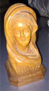 Virgin Mary bust hand carved