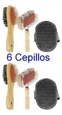 Pack 6 Cepillos para Perros,cepillos pelo corto y largo y manoplas goma flexible