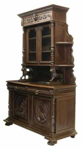 Antique Hunt Sideboard, French Well-Carved Oak Hunt with Game Birds, 1800