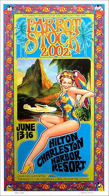 Jimmy Buffett Parrot Stock 2002 Benefit Fan Poster Signed by Bob Masse