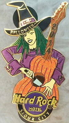 Hard Rock Hotel SIOUX CITY 2014 HALLOWEEN PIN Sexy Witch Carving Pumpkin Guitar! ()
