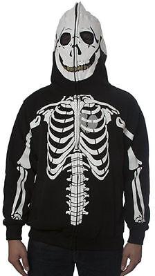 Men's Skeleton Halloween Hoodie Sweatshirt (*New* Men's Skeleton Zipper Hoodie SweatShirt Jacket- Halloween Bone Scary)