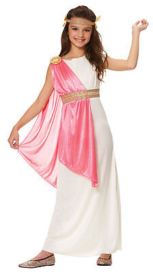 ROMAN EMPRESS ATHENA GREEK GODDESS TOGA CHILD KIDS GIRLS COSTUME WHITE PINK