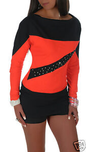 Women's Two Tone Diamante Studds Jumper Top One Size 8/10 ♥ MADE IN EU ♥ 496