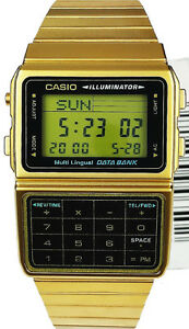 Casio Gold Stainless Steel Databank Calculator Watch 5 Alarms DBC611G-1D New